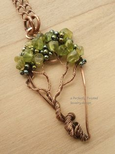 Wire Wrapped Tree of Life Pendant Peridot & by PerfectlyTwisted