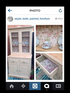 Pine dresser make over by skylar-belle painted furniture. Painted in ASCP old ochre with feature paper. £225