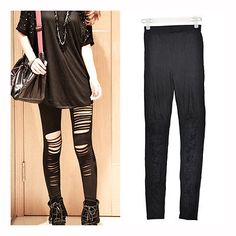 Cheap slash leggings, Buy Quality legging pants directly from China leggings leggings Suppliers: IMC Fation Sexy Hot Black womens Ripped Torn Slashed Leggings Pant UK Seller Tight Leggings, Leggings Are Not Pants, Black Tights, Black Jeans, Women Brands, S Girls, Outerwear Jackets, Sexy, Lounge Wear