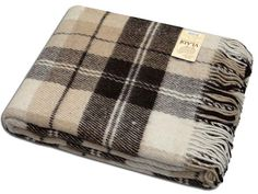 Warm 100% WOOL / New Zealand Sheep Wool Plaid Blanket Size 170*210cm #vladi