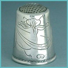 Antique Art Nouveau Russian Silver Thimble. This solid silver thimble is stamped with the Russian silver hallmark used from 1908-1917.