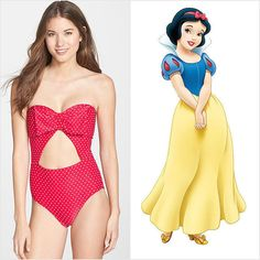 Snow White is all about her red bow. In fact, she wouldn't go anywhere without it. We love the sweet-girl spirit of this Betsey Johnson cutout one-piece ($118). SW would totally cuddle up on the beach with Prince Charming wearing this, right?