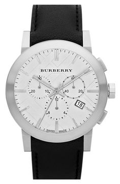 Burberry Check Stamped Round Chronograph Watch available at #Nordstrom