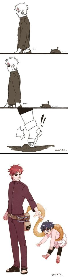 Gaara and Himawari. OMG that's so mega cute he cares for her *-* and even his Sand does!