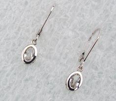 White Sapphire Dangle Earrings in 14k Gold by PristineJewelry, $360.00