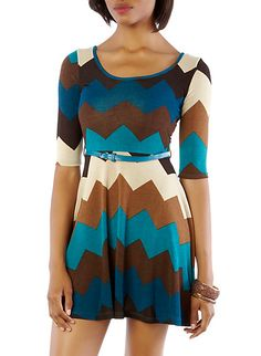 Chevron Fit-and-Flare Knit Dress