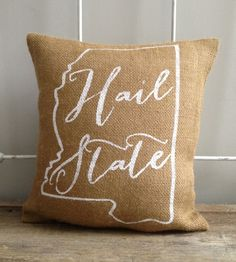 """Burlap Pillow,"""" Hail State"""" , Mississippi State, Custom Made to Order"""