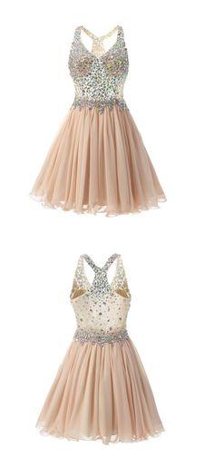 Sparkling Rhinestones Bodice Prom Dress,A Line Short Party Dress,Cocktail Dress with Straps,Knee Length Chiffon Prom Dress