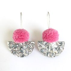 Pom Scallop Drop Dusty Pink Pom Pom & Silver Lush by EachToOwn