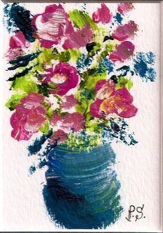 ACEO Roses Blue Flowers Vase Impressionist Painting Art OOAK SFA Penny StewArt #Impressionism