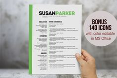 Bold green modern resume template by Inkpower on Creative Market