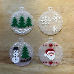 Billedresultat for hama mini perler christmas Perler Bead Templates, Diy Perler Beads, Perler Bead Art, Christmas Perler Beads, Beaded Christmas Ornaments, Clear Ornaments, Christmas Cross, Christmas Ideas, Christmas Decorations
