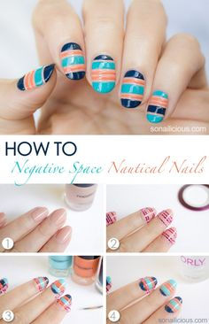 Negative Space Nautical Nails DIY Tutorial