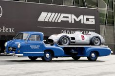 #blue 1955 Mercedes Race Car Transporter