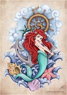 Disney Tattoo Ariel little mermaid Disney art Mermaid tattoo Tattoo Ariel, Disney Tattoos Ariel, Mermaid Tattoos, Disney Princess Ariel, Mermaid Disney, Disney Little Mermaids, Ariel The Little Mermaid, Mermaid Princess, Disney Kunst