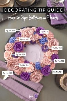 Decorating Tip Guide: How to Pipe Buttercream Flowers - Learn how to pipe beautiful buttercream flowers with the use of different Wilton decorating tips! Wilton Decorating Tips, Cake Decorating, Cake Tutorial, Cupcake Art, Buttercream Flowers, Pretty Cakes, Decorate Cupcakes, Fantasy Cake, Ring Cake