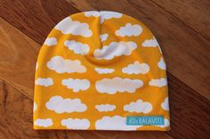 Kids jersey beanie hat - 'Yellow Clouds' - Made in Canada, ready to ship