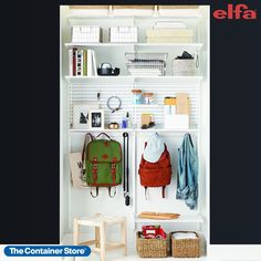 Available only at The Container Store, our Elfa Classic 4' Drop Zone organizes a wide array of items from backpacks to lunchboxes, snacks to paperwork. Elfa Ventilated Shelves make the most of wall space by storing items off the floor and at a height that's easily reachable. Non-slip steel Hooks hold large gear like backpacks and bags safely out of the way of foot traffic, and can also be mounted directly to the wall. Utility Boards further organize smaller items like mail, accessories and… Closet Rod, Closet Shelves, Room Shelves, Hall Closet, Basement Closet, Kitchen Shelves, Coat Storage, Entryway Storage, Storage Bins