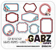 Cat in the Hat Frames Baby Shower Clipart Thing 1 Thing 2 Baby Shower Clipart, Baby Frame, Digital Papers, Thing 1 Thing 2, Frames, Clip Art, Unique Jewelry, Hats, Handmade Gifts