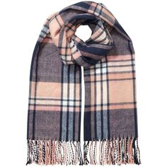 Miss Selfridge Apricot/Navy/Nude Check Scarf (1.365 RUB) ❤ liked on Polyvore featuring accessories, scarves, assorted, navy blue shawl, miss selfridge, navy scarves, navy shawl and checkered scarves