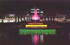 Vintage postcard of a night view of the fountain at the Greater Pittsburgh Airport in Pittsburgh, Pennsylvania. Photo by Paul M. Old Images, Old Pictures, Pittsburgh International Airport, Pennsylvania History, Pittsburgh City, Fountain, America, Night, Evil Twin