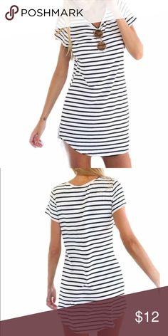 ed76520199 Striped dress White   black shirt sleeve striped dress. Size XL but fits as  medium