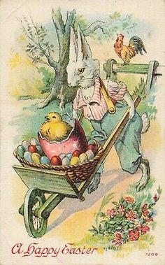 Antique Postcard A Happy Easter Anthropomorphic White Rabbit Bunnies wagon Easter Art, Hoppy Easter, Easter Crafts, Easter Bunny, Easter Eggs, Vintage Cards, Vintage Postcards, Easter Parade, Easter Printables
