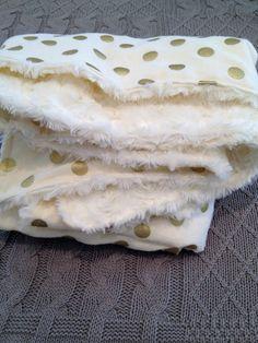 Gold Dot Blanket Minky Baby Blanket Classy Nursery by DwellDarling