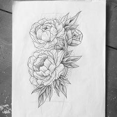 peony tattoo line drawing - Google Search