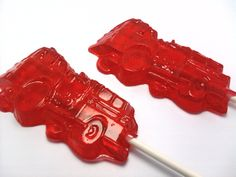 Buy 10 Get 10 Free -  FIRE TRUCK LOLLIPOPS - Pick Any Color and Flavor. $16.99, via Etsy.