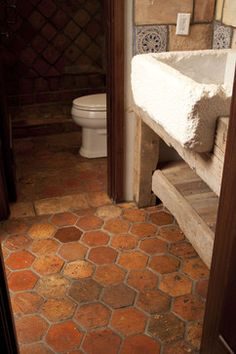 Guesthouse with reclaimed French Terracotta Flooring and Shower - mediterranean - living room - charlotte - Vintage Elements LLC.G-PISOS PATIO Brick Flooring, Kitchen Flooring, Bathroom Floor Tiles, Tile Floor, Floor Sink, Classic Style Bathrooms, Terracotta Floor, Paint Your House, Terracotta