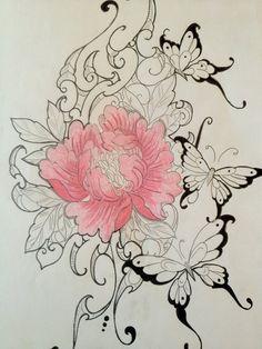 pretty flower tattoo minus those dumb butterflies Girly Tattoos, Love Tattoos, Beautiful Tattoos, Tattoo You, Tatoos, Tattoo Sketch, Tattoo Drawings, Pretty Flower Tattoos, Pretty Flowers