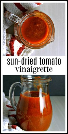 This Sun-Dried Tomato Vinaigrette is so easy, so wholesome and just takes minutes to make! You will never want to go back to store-bought again! You'll love the intense flavors! Tomato Vinaigrette Dressing Recipe, Sun Dried Tomato Dressing Recipe, Sun Dried Tomato Sauce, Salad Dressing Recipes, Salad Dressings, Sun Dried Tomatoes, Green Tomato Recipes, Sundried Tomato Recipes, Dried Vegetables