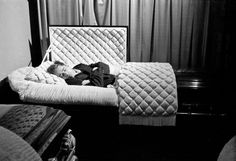 James Dean poses in a casket in a funeral parlor in Fairmount, Indiana, in 1955, seven months before he died.