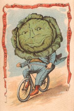 """Vegetable People Cabbage Riding a Bicycle 8 x 12"""" Print"""