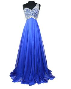 The Royal Blue Backless One Shoulder Beading Prom Dresses,A-Line Floor-Length Evening Dresses, Prom Dresses, Real Made Prom Dresses On Sale,