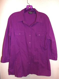 Chico's Additions by Chico's Purple Button Shirt Size 2 Medium Large Long Sleeve #Chicos #Blouse #Casual
