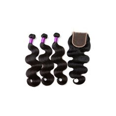 1 Bundle Brazilian Body Wave Human Hair Extensions Lace Frontal... ($30) ❤ liked on Polyvore featuring white