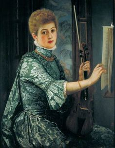The Violinist (1886). George Adolphus Storey (English, 1834-1919). Oil on…