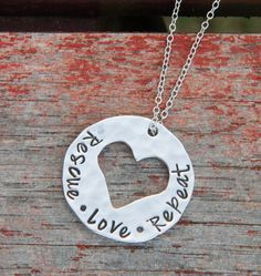 Rescue, Love, Repeat! Great for animal rescue supporters. I love this necklace! http://theilovedogssite.com/product/rescue-love-repeat-silver/?utm_source=PIN_RescueLoveRepeat_2-7-15&utm_medium=link&utm_campaign=PIN_RescueLoveRepeat_2-7-15