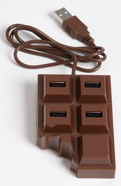 Kikkerland Design 'Chocolate' USB Hub available at Usb Hub, Cool Technology, Technology Gadgets, Technology Gifts, Objet Wtf, Batterie Portable, Accessoires Iphone, Iphone Charger, Iphone Cases