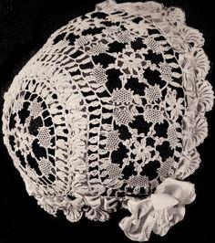 Vintage Cluny Baby Cap Hat Bonnet Crochet Pattern ClunyBB