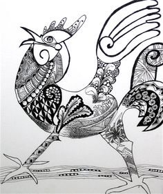 zentangle | Atlantas Certified Zentangle Instructors, Rooster by Joan Payton