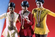Dianne de Leeuw (NED), Dorothy Hamill (USA), Christine Errath (GDR) at the 1976 Olympic Winter Games in Innsbruck, Austria