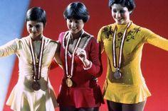 Dianne de Leeuw (NED), Dorothy Hamill (USA), Christine Errath (GDR) at the 1976 Olympic Winter Games in Innsbruck, Austria