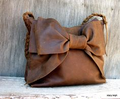 Leather Bow Shoulder  Bag in Distressed Brown by Stacy Leigh Made to Order