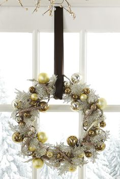 Gold, Silver & Chocolate Ornament Holiday Wreath $18