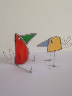 Pair of Stained Glass Birds (Crazy Gang) Suncatcher