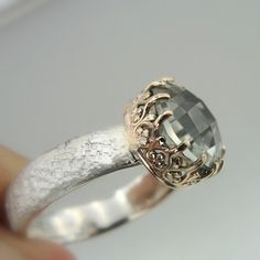 Hadas1951 Hand Crafted Gold Silver Green Amethyst by Hadas1951, $119.00