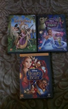 Disney DVD lot of 3-  Tangled, The Princess & The Frog, beauty and the beast